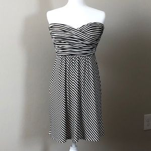 BCBG Black & white striped strapless jersey dress